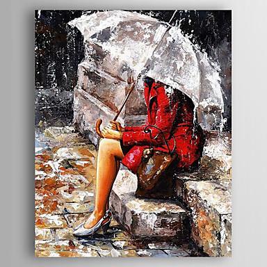 お買い得  壁飾り-ハング塗装油絵 手描きの - 人物 近代の 内枠を含めます / ストレッチキャンバス
