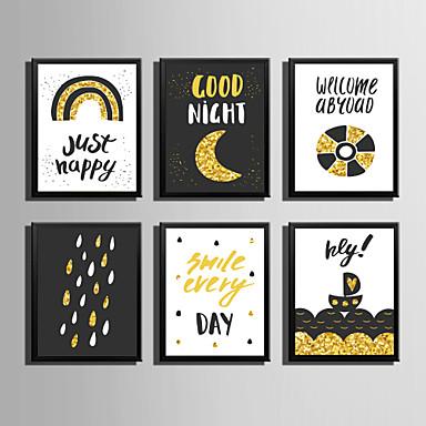 Quadros Emoldurados Conjunto Emoldurado Abstrato Palavras e Citações Arte de Parede, PVC Material com frame Decoração para casa Arte