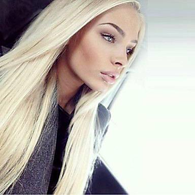 Χαμηλού Κόστους Συνθετικές περούκες με δαντέλα-Συνθετικές μπροστινές περούκες δαντέλας Ίσιο Kardashian Στυλ Δαντέλα Μπροστά Περούκα Ξανθό Blonde Συνθετικά μαλλιά Γυναικεία Φυσική γραμμή των μαλλιών / Στη μέση Ξανθό Περούκα Μακρύ
