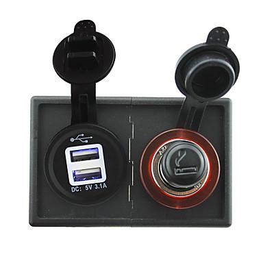 12V / 24V محول ولاعة السجائر والإضافية 3.1a USB مقبس الطاقة مع لوحة حامل السكن للقارب سيارة شاحنة رف