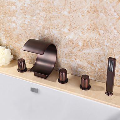Grifo de bañera - Moderno Bronce Aceitado Bañera y ducha Válvula Cerámica / Latón / Tres manijas cinco hoyos