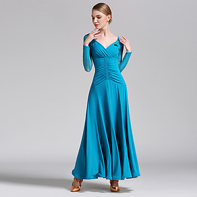 Ballroom Dance الفساتين للمرأة أداء تول / ألياف الحليب مصالب كم طويل ارتفاع متوسط فستان