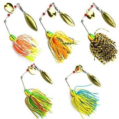 cheap Fishing Lures & Flies-5 pcs Fishing Lures Buzzbait & Spinnerbait Metal Bait Spinner Baits Lead Metal Sinking Sea Fishing Bait Casting Spinning / Jigging Fishing / Freshwater Fishing / Bass Fishing / Lure Fishing