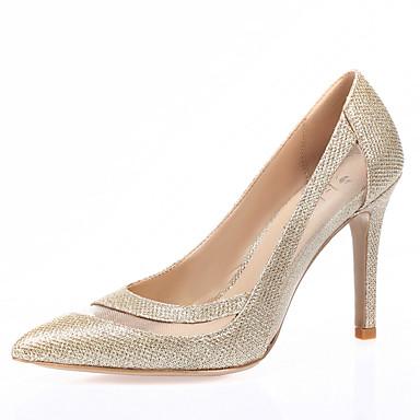Mulheres Sapatos Gliter / Tule Primavera / Verão / Outono Saltos Salto Agulha Dedo Apontado Branco / Preto / Prata / Casamento / Social
