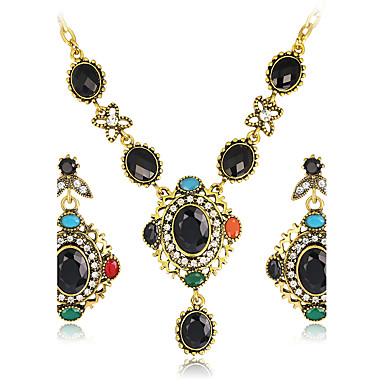 630b4430ea68 Juego de Joyas Lujo Vintage Bohemio Fiesta Ocasión especial Piedras  preciosas sintéticas Resina Brillante Chapado en