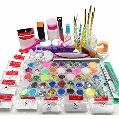 ราคาถูก ล้างสต็อก-ผงอะคริลิเล็บชุดศิลปะของเหลวแวว UV ชุดเคล็ดลับเจลกาวแปรง