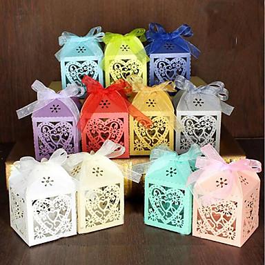 abordables Support de Cadeaux pour Invités-Rond / Carré Papier nacre Titulaire de Faveur avec Ruban / Imprimé Boîtes à cadeaux / Boîtes Cadeaux