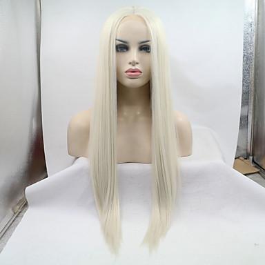 저렴한 가발 & 헤어 연장-합성 레이스 프론트 가발 직진 스타일 중간 부분 전면 레이스 가발 블론드 표백제 금발 인조 합성 헤어 18-26 인치 여성용 자연 헤어 라인 블론드 가발 긴 1백80% 인간의 머리카락 밀도 할로윈 가발