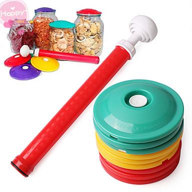 10pcs / set 9 en 1 frasco de vacío sellador cubrir los alimentos tapa utensilio de cocina enlatado establecer fresca fresca cubierta de
