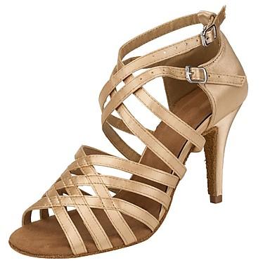 Mulheres Sapatos de Dança Latina Cetim Sandália / Salto Presilha Salto Personalizado Personalizável Sapatos de Dança Camel / Profissional