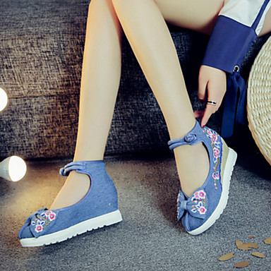 Tacón Azul 05598627 Paseo Oxfords Innovador Rojo Flor Otoño Beige Confort Hebilla Verano Zapatos Dedo Tela Plano Primavera redondo Mujer Zapatos bordados vPARHn