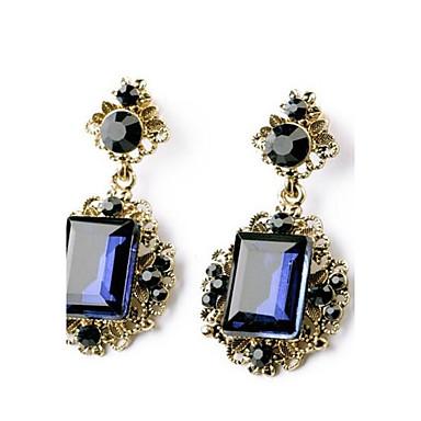 halpa Muotikorvakorut-Naisten Safiiri Synteettinen Sapphire Synteettinen Emerald Emerald Cut kaksi kiveä Pisarakorvakorut Smaragdi korvakorut naiset Korut Vihreä / Sininen Käyttötarkoitus Häät Party 1kpl