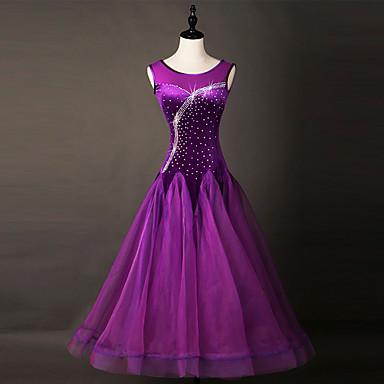 ボールルームダンス ドレス 女性用 性能 ナイロン / オーガンザ クリスタル / ラインストーン ノースリーブ ドレス