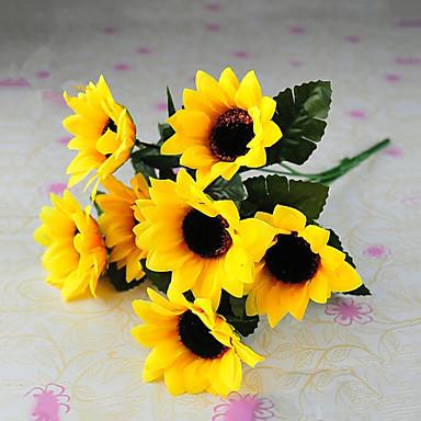1 Tak Zijde Zonnebloemen Bloemen voor op tafel Kunstbloemen