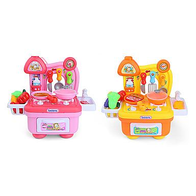 beiens Toy kjøkken sett Toy Retter & te sett Barne komfyrer Liksomspill And LED-belysning Lyd ABS Jente Barne Gave 14pcs
