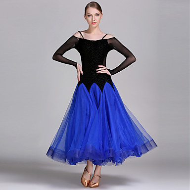 ダンスパフォーマンス ドレス 女性用 訓練 / 性能 チュール / ベルベット / プロミックス ラッフル 長袖 ドレス
