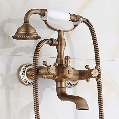 Grifo de bañera - Clásico Tradicional Cobre Envejecido Conjunto Central Válvula Cerámica