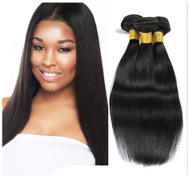 3 paket Indiskt hår Rak Obehandlad hår Human Hår vävar Hårförlängning av äkta hår Människohår förlängningar