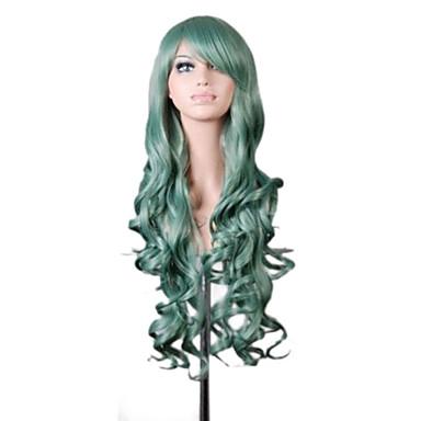 الاصطناعية الباروكات / باروكات مخصصة مموج شعر مستعار صناعي أزرق / أخضر / بنفجسي شعر مستعار نسائي طويل جدا دون غطاء بنفسجي