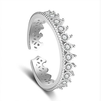 للمرأة خاتم - بلاتين مطلي أنيق قابل للتعديل فضي من أجل زفاف / حزب / مناسبة خاصة
