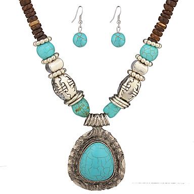 Mulheres Conjunto de jóias - Turquesa Caído Original, Pingente, Vintage Incluir Colares com Pendentes Verde Para Casamento