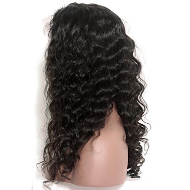 Human Hair Glueless Lace Front / Lace Front Wig Deep Wave Wig 120% Natural Hairline / African American Wig / 100% Hand Tied Women's Short / Medium Length / Long Human Hair Lace Wig