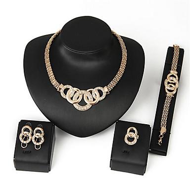 نسائي الماس الاصطناعي مجموعة مجوهرات - زركون أساسي, ديني, بانغك تتضمن ذهبي من أجل زفاف مناسب للحفلات