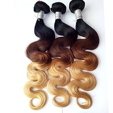 baratos Extensões de Cabelo Natural-3 pacotes Cabelo Brasileiro Onda de Corpo Cabelo Virgem Âmbar Tramas de cabelo humano Extensões de cabelo humano Mulheres