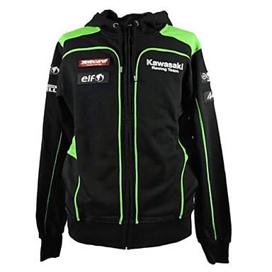 kawasaki motorsport racing hoodie jacket black / green color mens biker sweatshirt