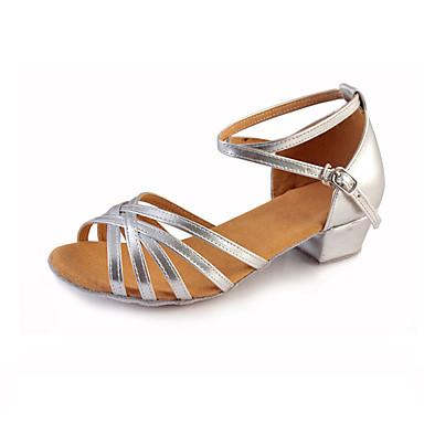 cae3d8af2c Lány Latin cipők Elasztikus szövet Lapostalpú / Szandál / Sportcipő  Csokornyakkendő / Ráncolt / Virág Alacsony Szabványos méret Dance Shoes  Ezüst / Mandula ...