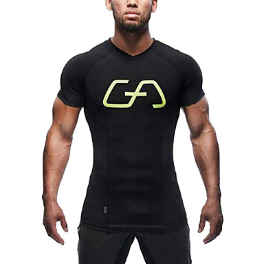 Hombre Escote en Pico Camiseta de running - Negro, Rojo, Gris Deportes Top Manga Corta Ropa de Deporte Secado rápido, Transpirable, Cómodo