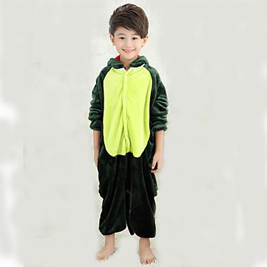 Kinder Kigurumi-Pyjamas mit Hausschuhen Dinosaurier Pyjamas-Einteiler Kostüm Korallenfleece Grün Cosplay Für Tiernachtwäsche Karikatur Halloween Fest / Feiertage