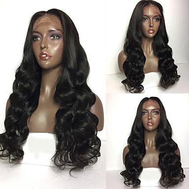 Ekte hår Blonde Forside Parykk Brasiliansk hår Bølget Krop Bølge tetthet 100 % håndknyttet Afroamerikansk parykk Naturlig hårlinje Kort