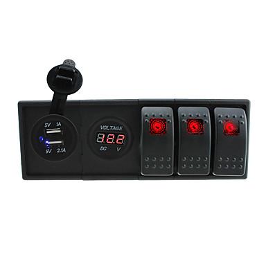 CC 12V / 24V llevado 3.1a digitales USB de doble toma de cargador voltímetro con interruptores basculantes y los alambres de puente