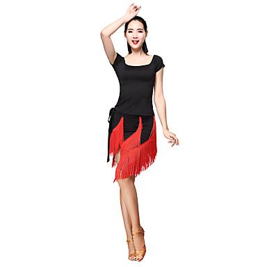 Dança Latina Roupa Mulheres Treino Fibra de Leite Mocassim Manga Curta Natural Blusa Saia