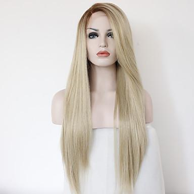 Syntetisk blonder foran parykker Rett Varme resistent Blond Blonde Forside Naturlig parykk Medium Lang Syntetisk hår
