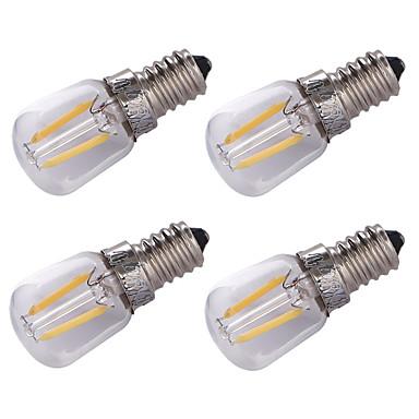 4pçs 1.5W 100lm E14 Lâmpadas de Filamento de LED 2 Contas LED COB Decorativa Branco Quente 220V