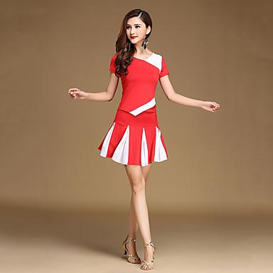 الرقص اللاتيني أزياء للمرأة التدريب ألياف الحليب ربط / مكعب التلوين كم قصير ارتفاع متوسط بلايز / الالتفاف