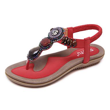 billige Sandaler til damer-Dame Sandaler Fladhæl Sandaler Flade hæle Elastik PU Komfort / Originale Gang Forår / Sommer Rød / Lys pink / Mandel