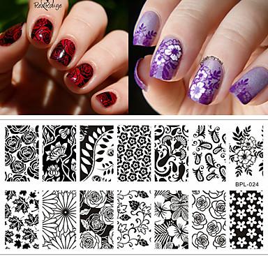 1pcs Estampado de placa Modelo arte de uñas Manicura pedicura Moda Diario / Placa de estampado / Acero