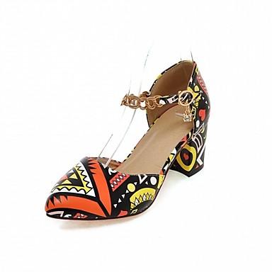 povoljno Ženske cipele-Žene Cipele na petu Kockasta potpetica / Blok pete Krakova Toe Životinjski uzorak Umjetna koža / PU Udobne cipele / Inovativne cipele Hodanje Proljeće / Ljeto žuta / Crvena / Bijela / Vjenčanje / 2-3