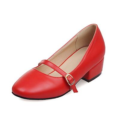 Damen Schuhe Kunstleder Frühling Sommer Komfort Neuheit Flache Schuhe Niedriger Heel Quadratischer Zeh Schnalle Schnürsenkel Für Normal