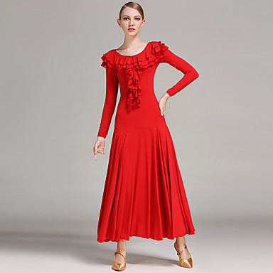 Ballroom Dance Dresses Women's Performance Viscose Ruffles Long Sleeves Natural Dress