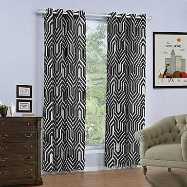Propp Topp Et panel Window Treatment Moderne, Trykk Geometrisk Stue Lin/ Polyester Blanding Materiale gardiner gardiner Hjem Dekor