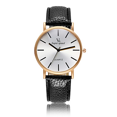 cheap Women's Watches-V6 Women's Fashion Watch Casual Watch Quartz Rose Gold Plated Leather Band Casual White Yellow