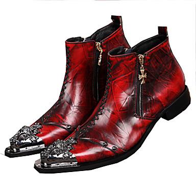 للرجال أحذية الجدة جلد خريف / شتاء كتب المشي مقاوم للماء أحمر / زفاف / الحفلات و المساء