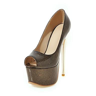 Mulheres Sapatos Couro Ecológico Primavera / Verão Conforto Sandálias Caminhada Salto Agulha Peep Toe Preto / Rosa claro / Amêndoa