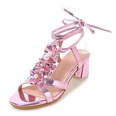 Mulheres Sapatos Courino Primavera / Verão Conforto / Sapatos clube Sandálias Salto Robusto Dedo Aberto Lantejoulas / Pérolas Sintéticas