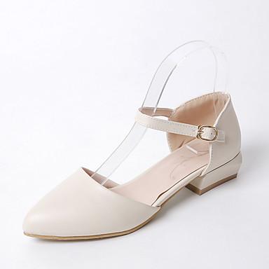 6a4ad11ea Feminino-Sandálias-Sapatos clube-Salto Baixo Salto Grosso-Branco Bege Rosa  claro