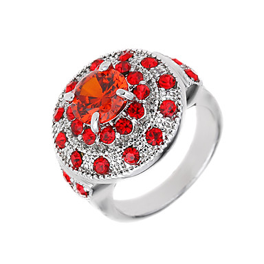 Mulheres Logo Anel de banda - Zircão, Zircônia Cubica, Imitações de Diamante Flor Luxo, Original, Punk 6 / 7 / 8 Vermelho Para Casamento / Festa / Liga